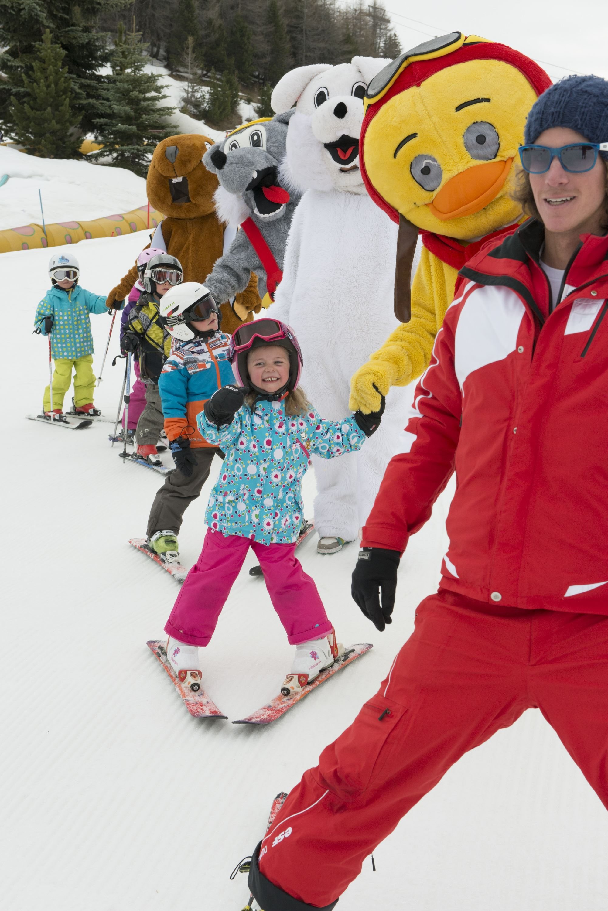 Group ski lessons 6 afternoons, Piou Piou Village, 4 to 5 years, beginner till snowflake level