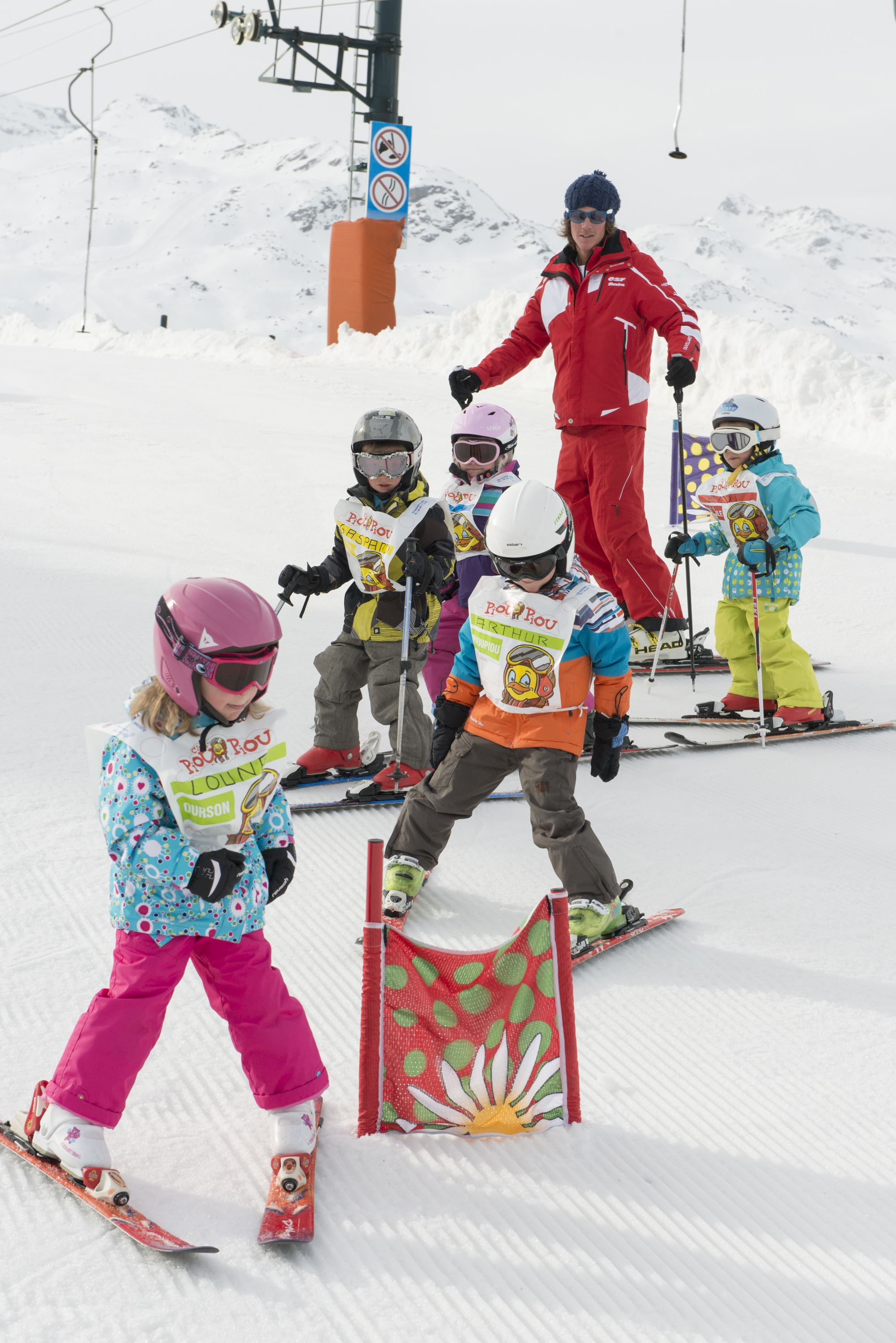 Group ski lessons 6 days, Piou Piou Village, 4 to 5 years (unavailable in Saint Martin de Belleville), beginner till snowflake level