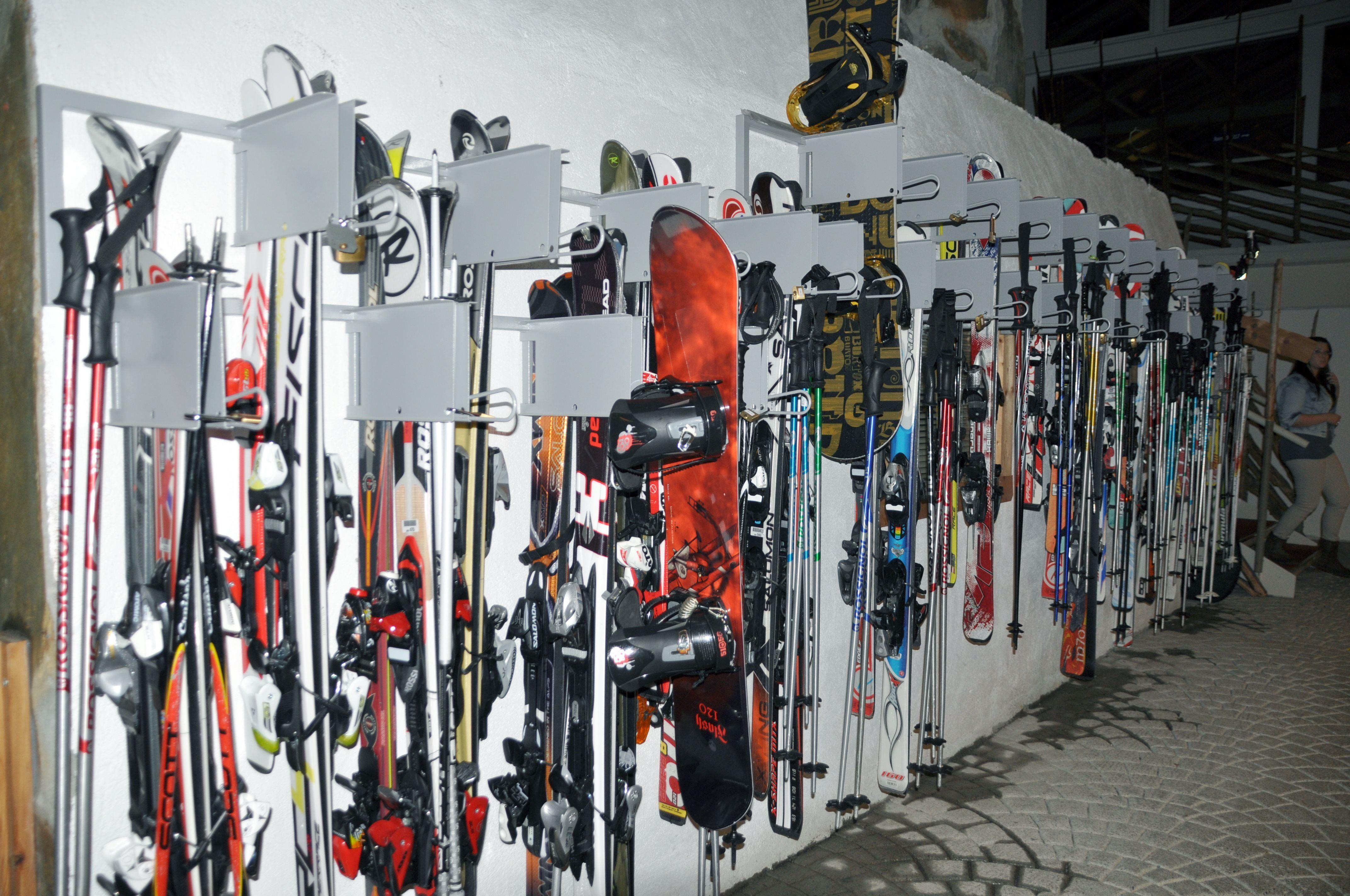 Ski lockers at Hafjell Hotel in Norway