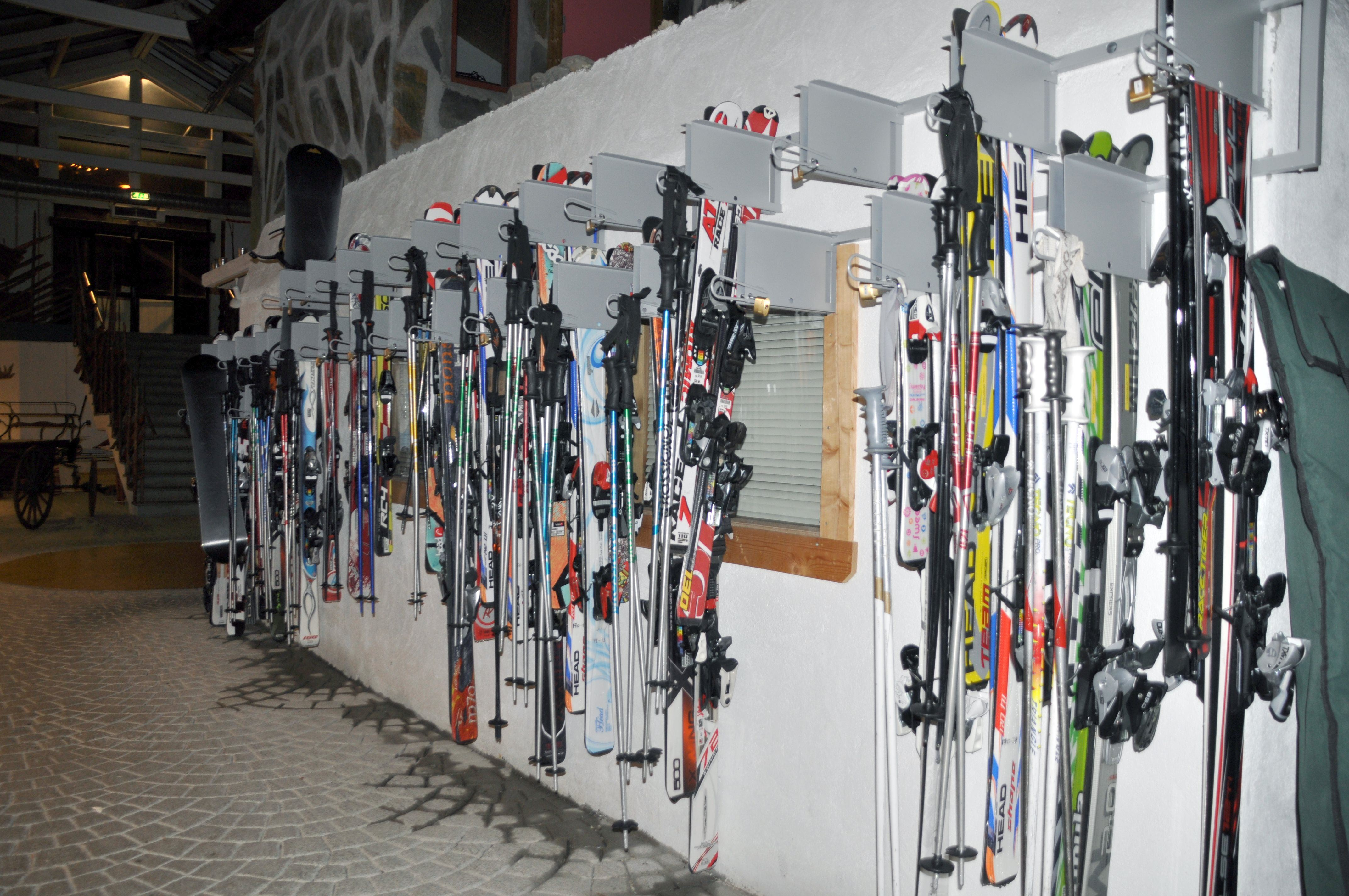 Ski lockers at Hafjell Hotel in Norway
