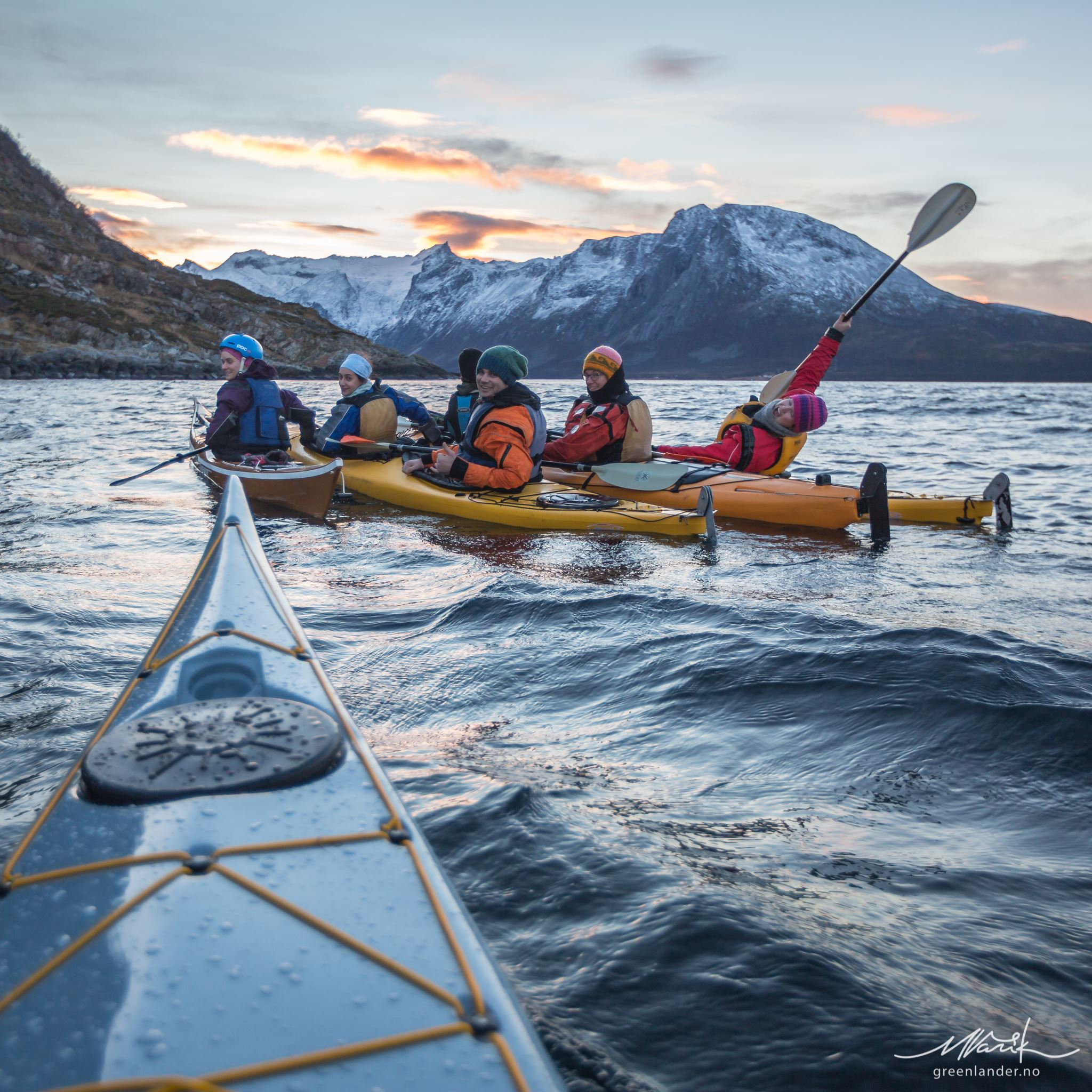 Winter Kayaking with Whales, BCU certified guides and stable tandem kayaks - Greenlander