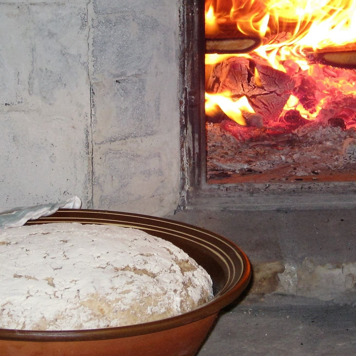 Baking bread in the stone oven