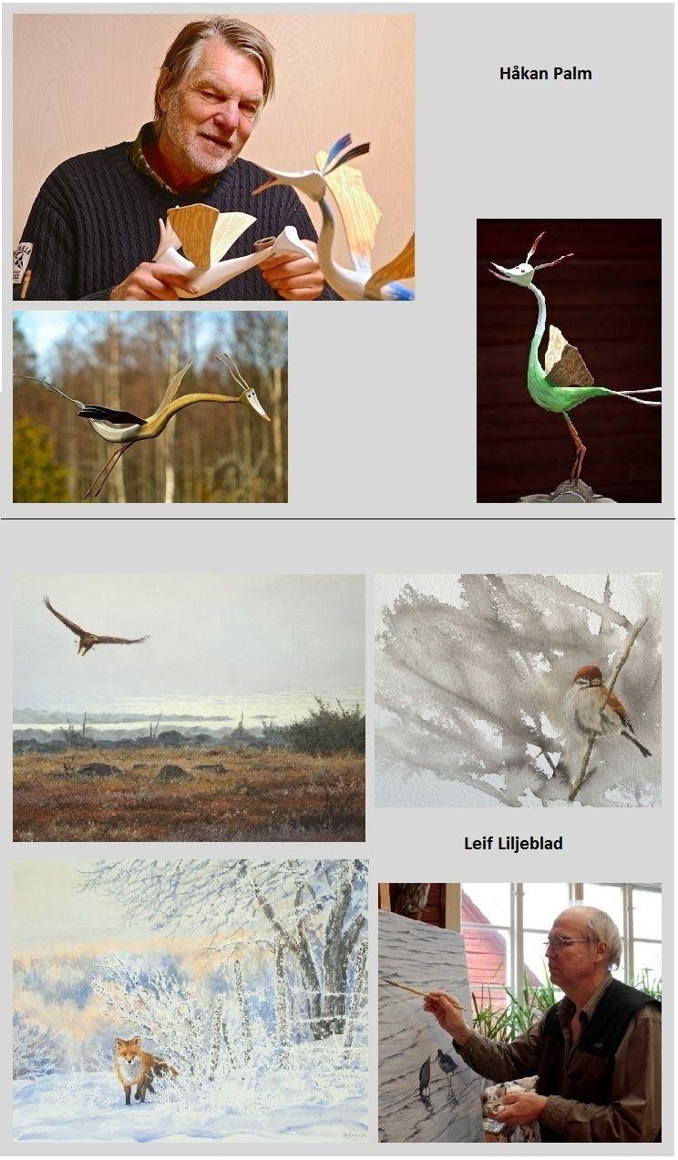 Utställning Håkan Palm, Fantasifåglar i trä och Leif Liljeblad, Måleri