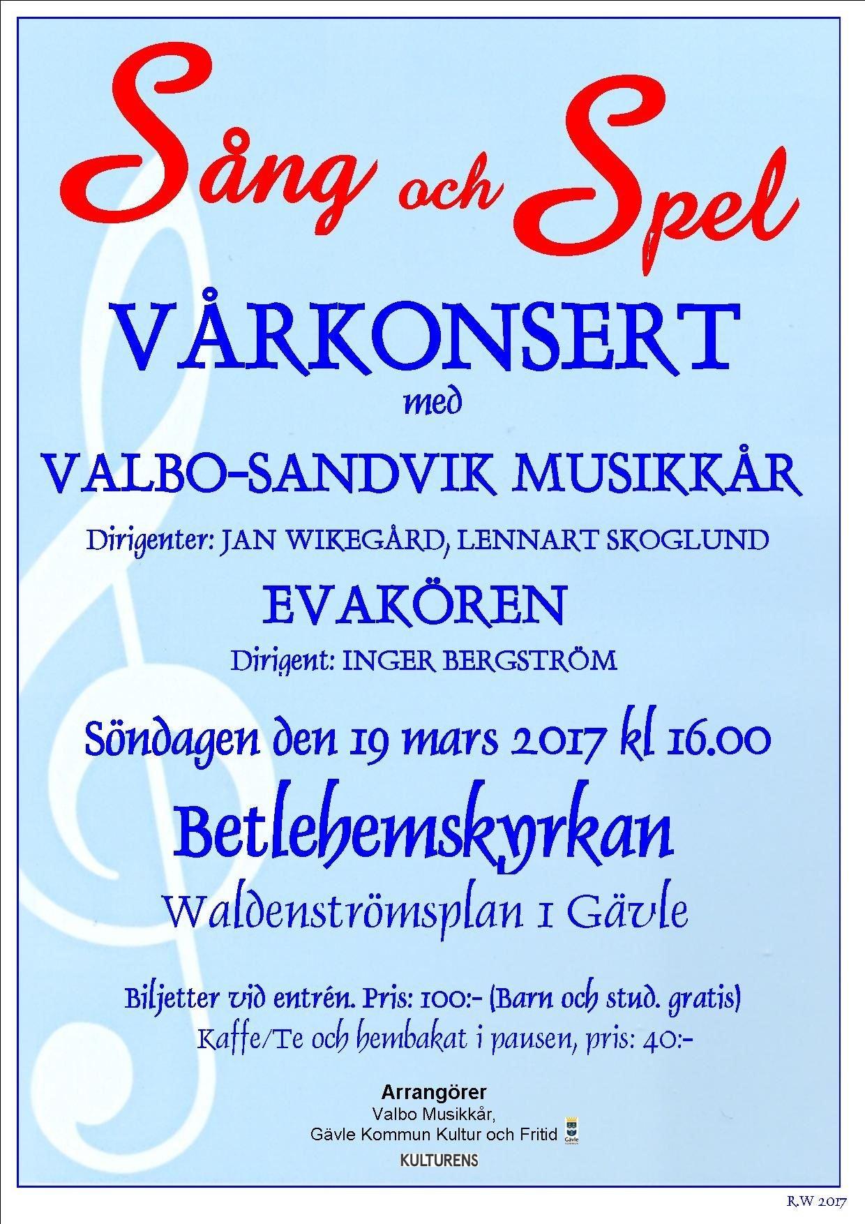 Vårkonsert - Valbo-Sandvik Musikkår och Evakören