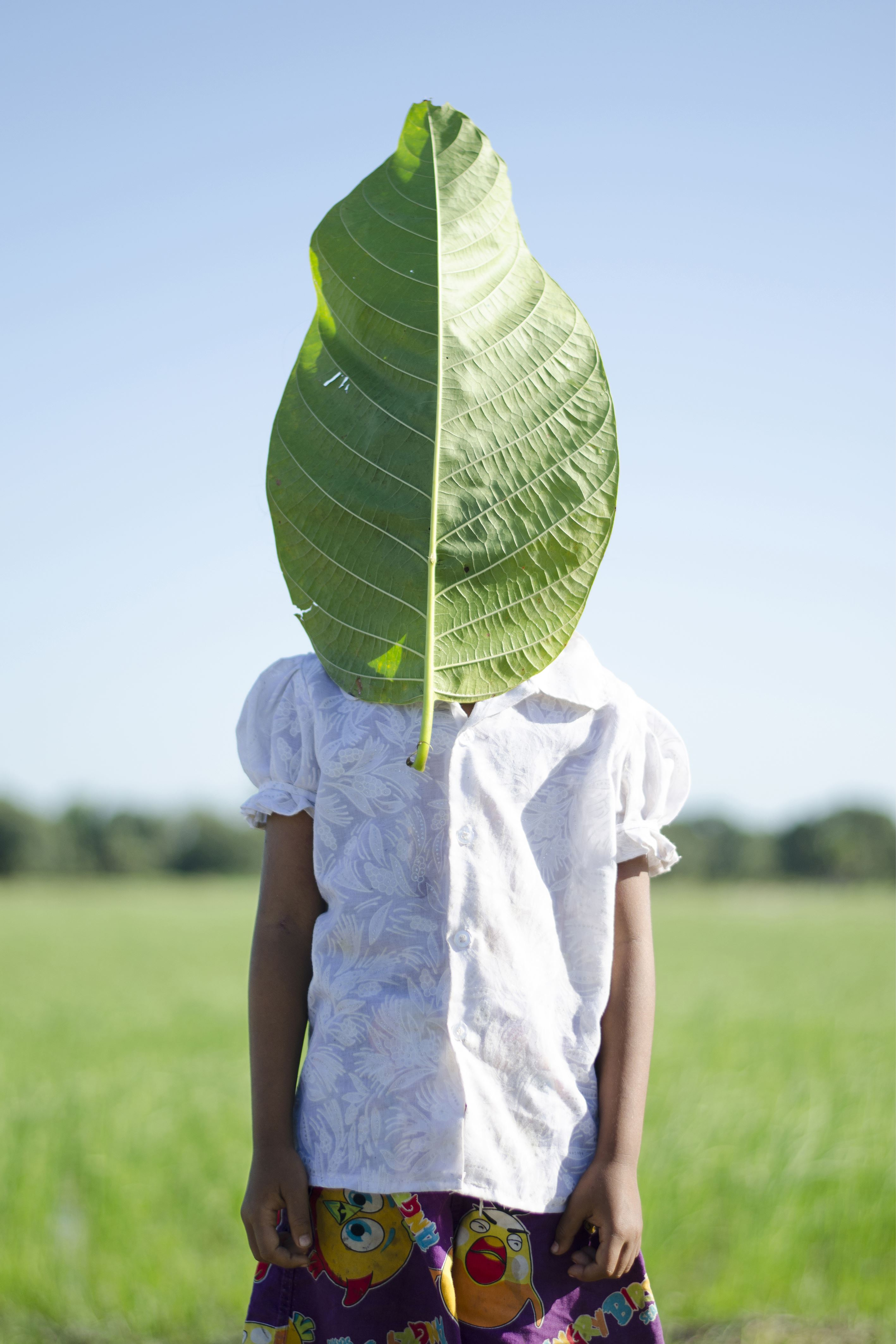 Neak Sophal ,  © Neak Sophal , Flicka som står på ett fält. Ett stort löv täcker hela hennes ansikte.
