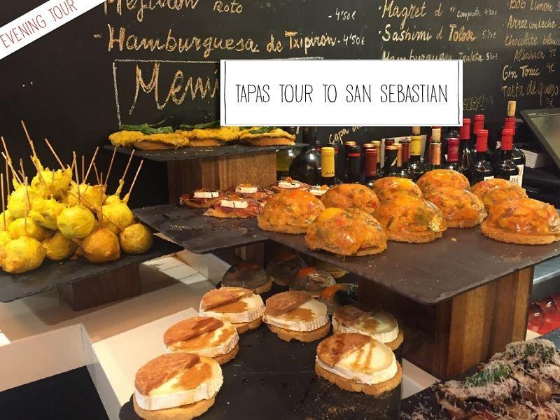 Soirée Tapas à Saint Sébastien (Espagne):Départ Office de tourisme Biarritz 17h30 ou depuis le Grand Hôtel Saint Jean de Luz 18h. Cocher le point de départ lors de la réservation