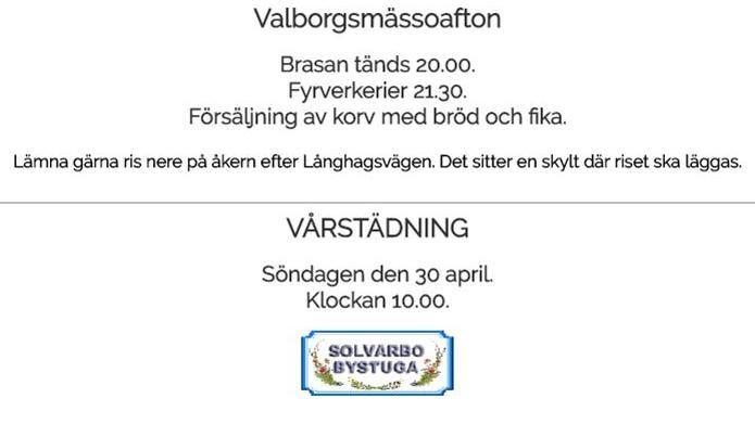 Valborgsmässoafton i Solvarbo