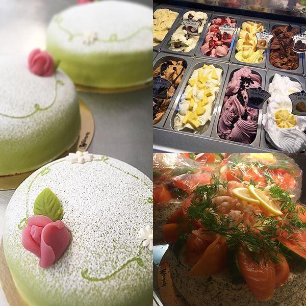 Foto: Wedemarks Café,  © Copy: Wedemarks Café, Tårtor, glass och smörgåstårta