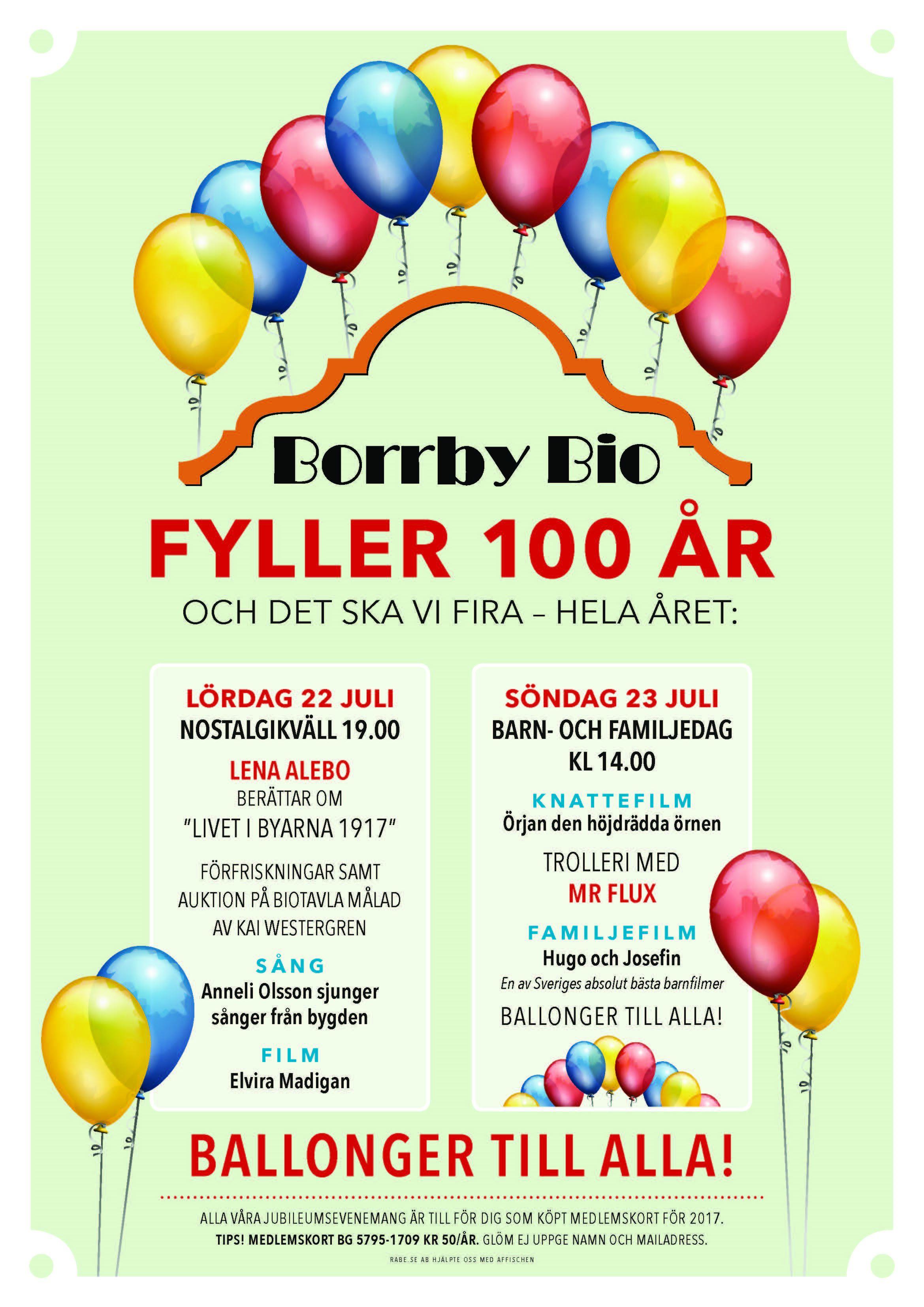 100-årskalas på Borrby Bio - en av Österlens äldsta biografer 1917!