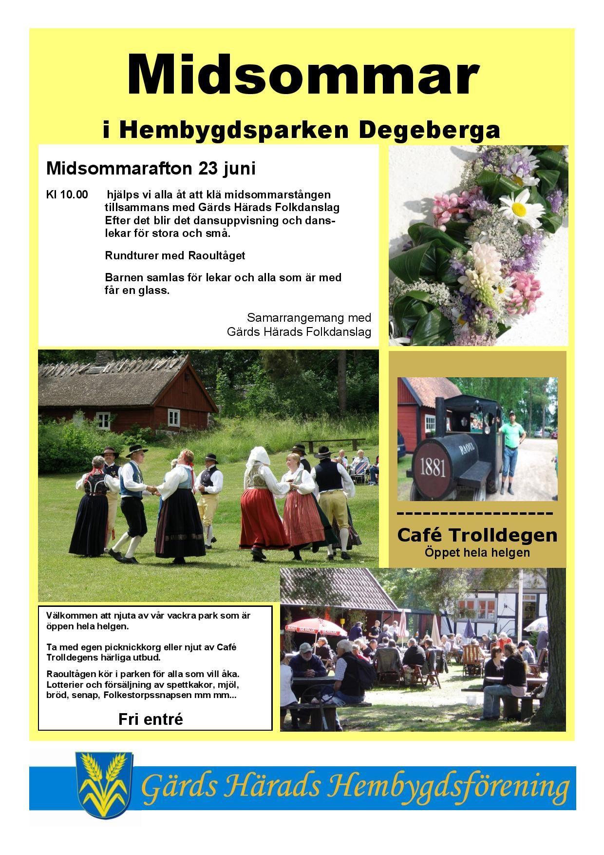 Traditionellt midsommarfirande i hembygdsparken i Degeberga