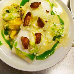 Nydelig fiske mat som er laget av kokken på Polar Hotell