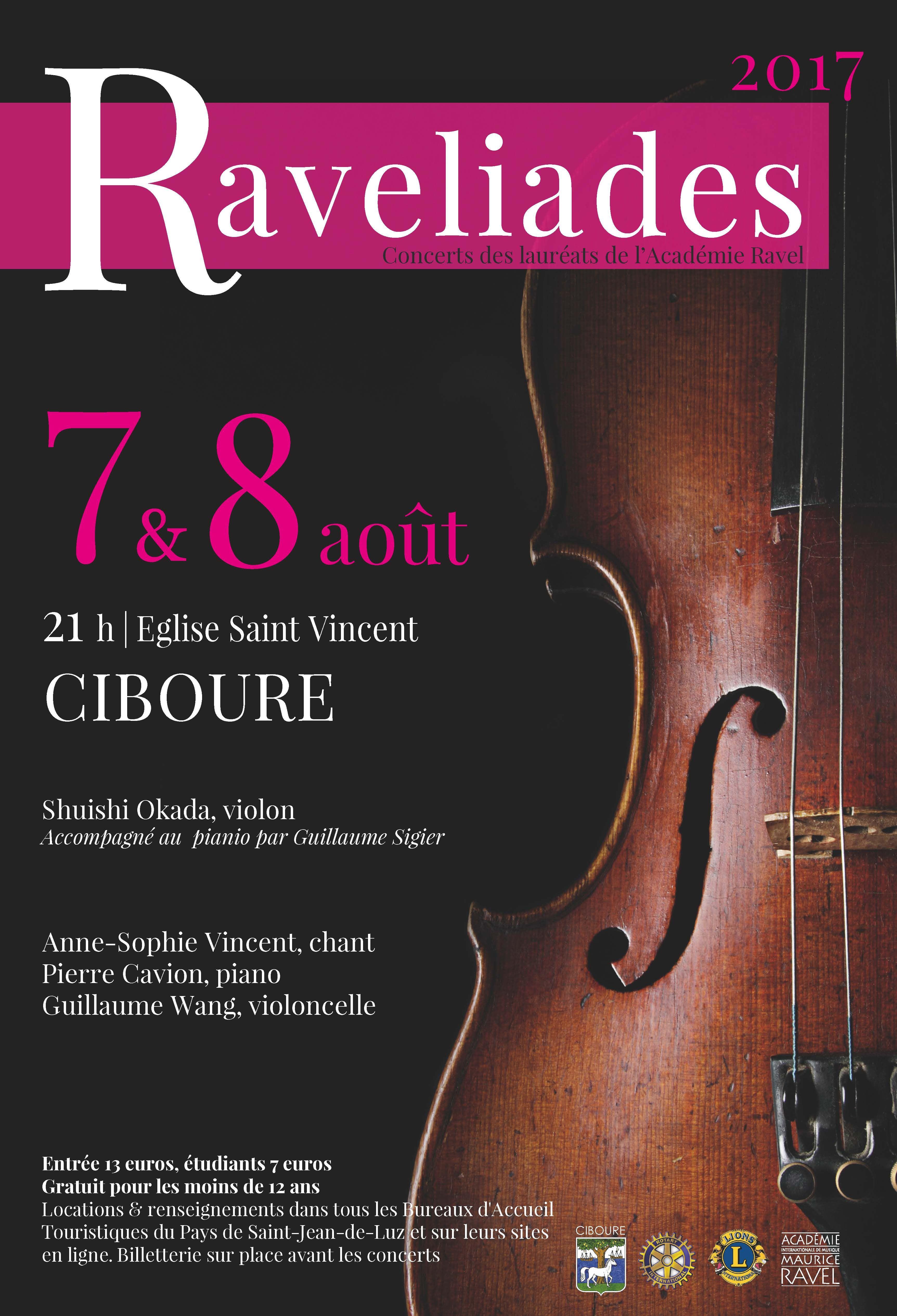 Concert des Ravéliades Lundi 7 août 2017 à 21h