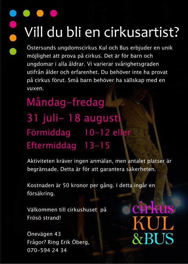 © Cirkus Kul och Bus,  Become a circus artist for a day!