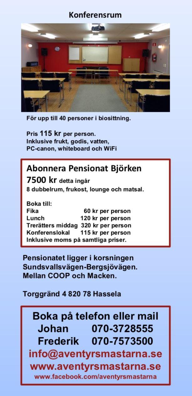 © Äventyrsmästarna, Pensionat Björken Broschyr