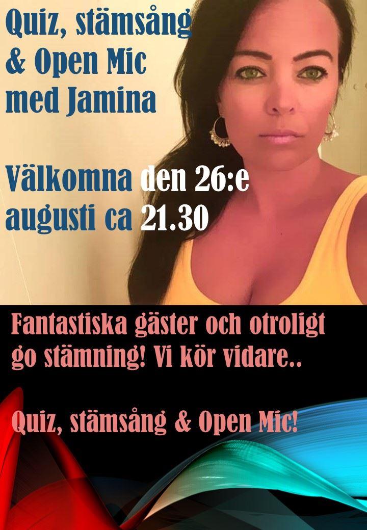 Quiz, stämsång & Open Mic med Jamina