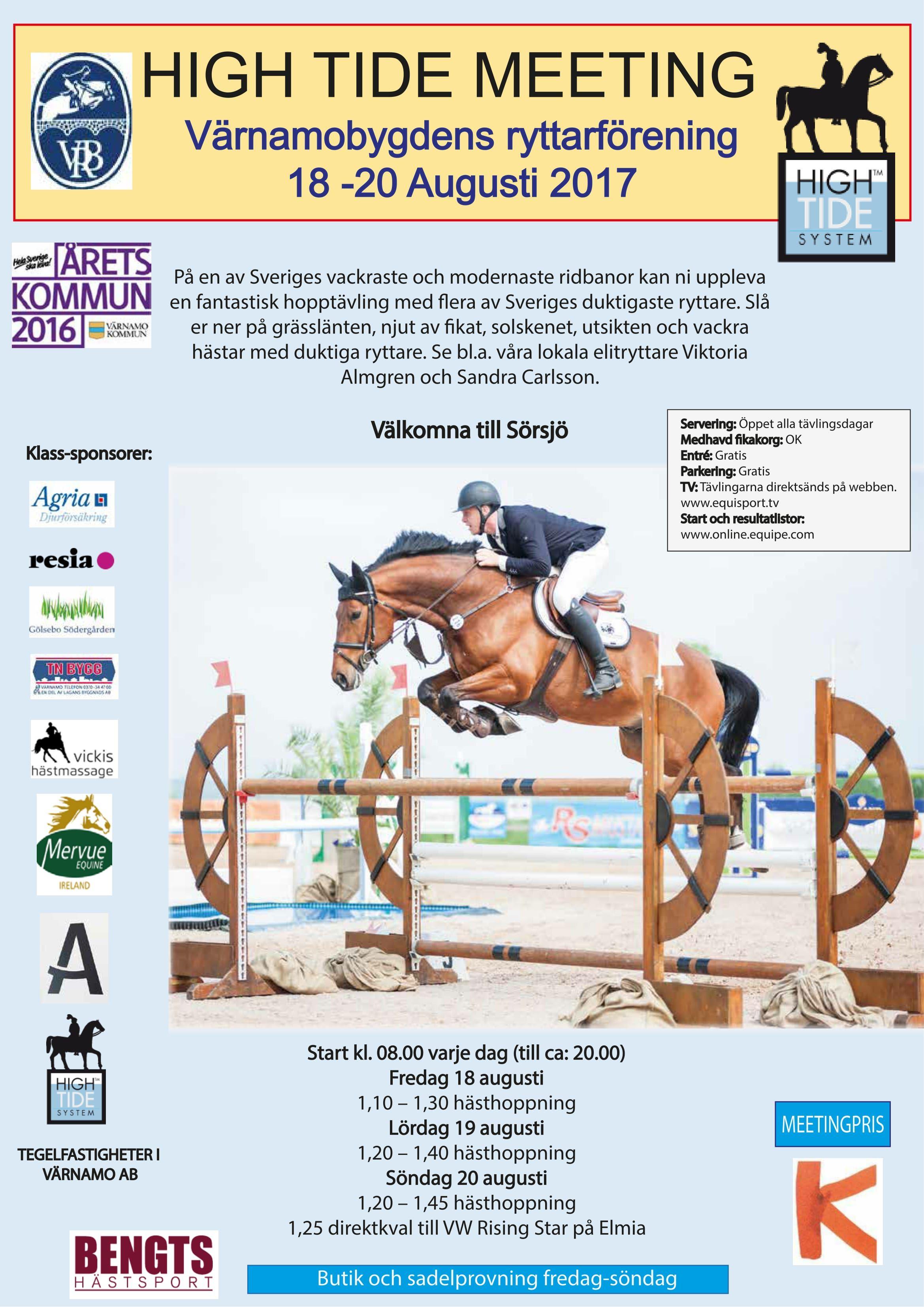 High Tide: Regional och Nationell hästhoppning Värnamobygdens ryttarförening
