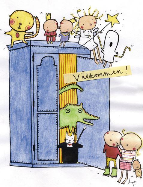 © Sagoskåpet. Illustration av Jenny Funestad, Sagostund på tyska / Märchenstunde auf Deutsch