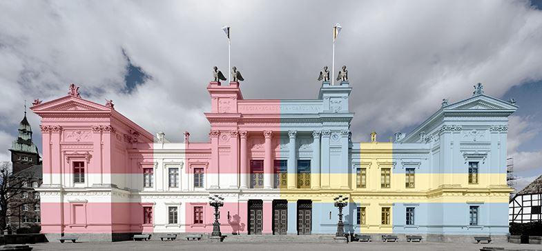 Bild av Universitetsbyggnaden med dansk-svensk flagga