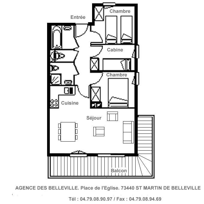 3 Rooms 6 Pers ski-in ski-out / ARMERIA 8