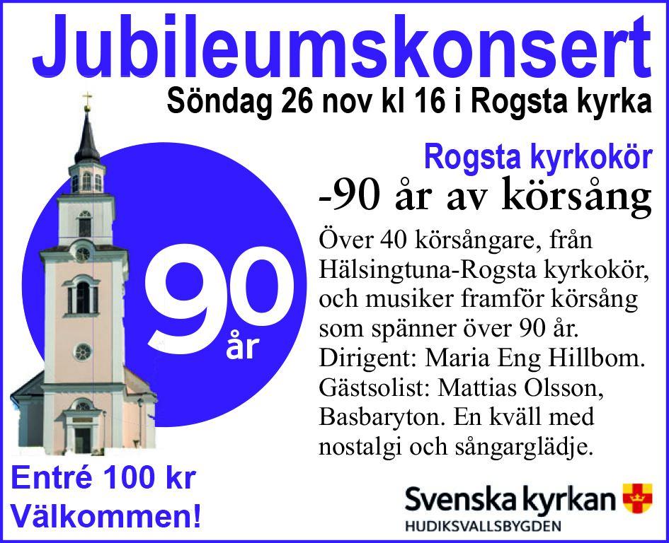 """Jubileumskonsert """"Rogsta kyrkokör 90 år av körsång"""""""