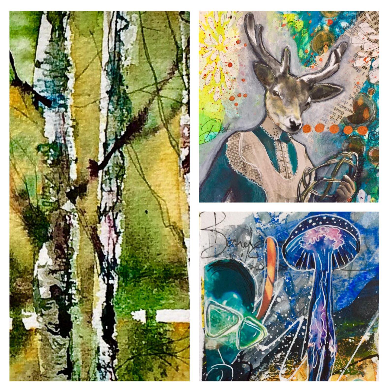 Vernissage och utställning med Helene Wallin, akvarell och art journaling