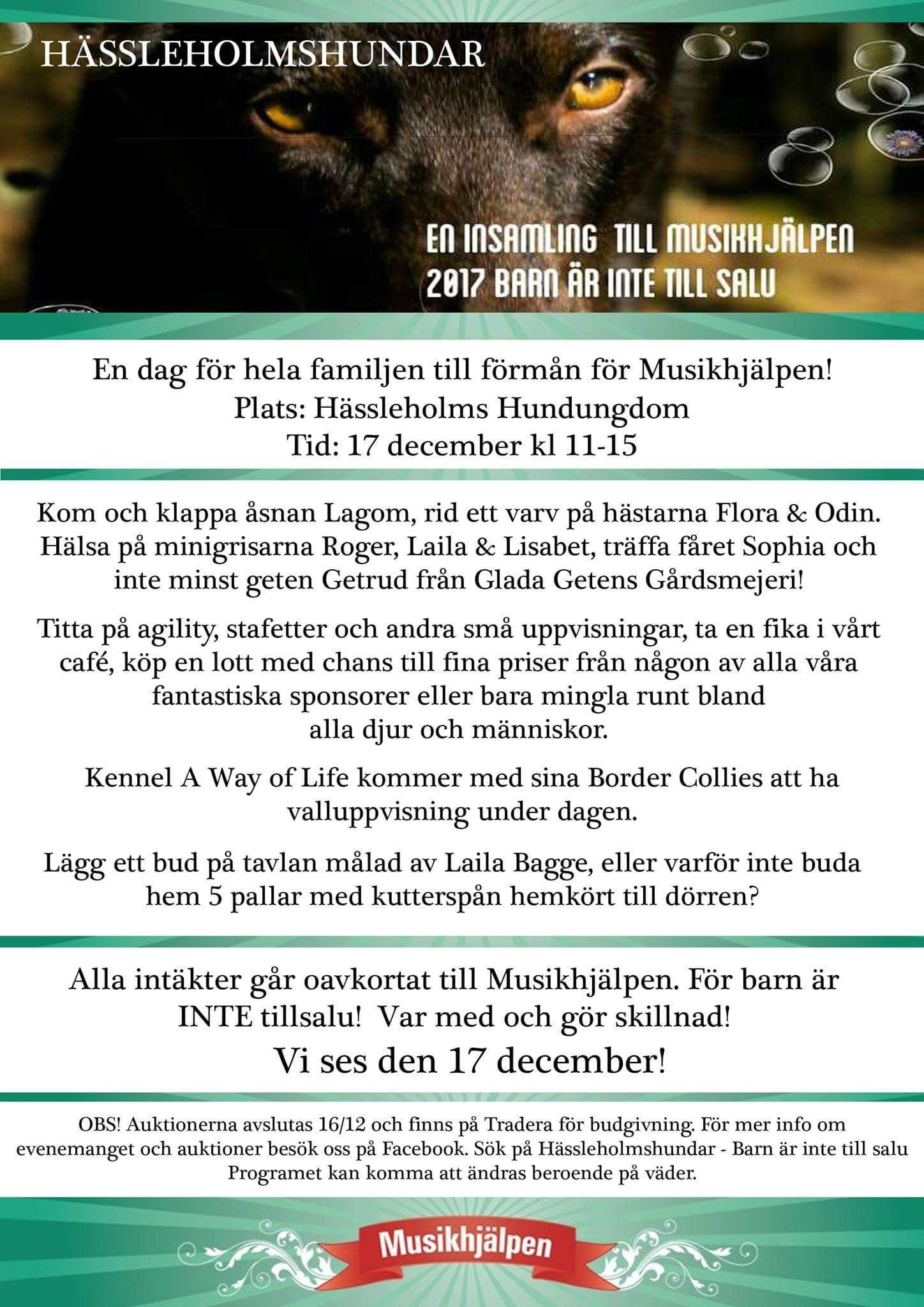 Hässleholmshundar - insamling till förmån för Musikhjälpen
