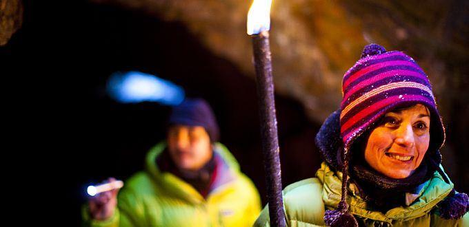 Fackeltur med snöskor till gruvan