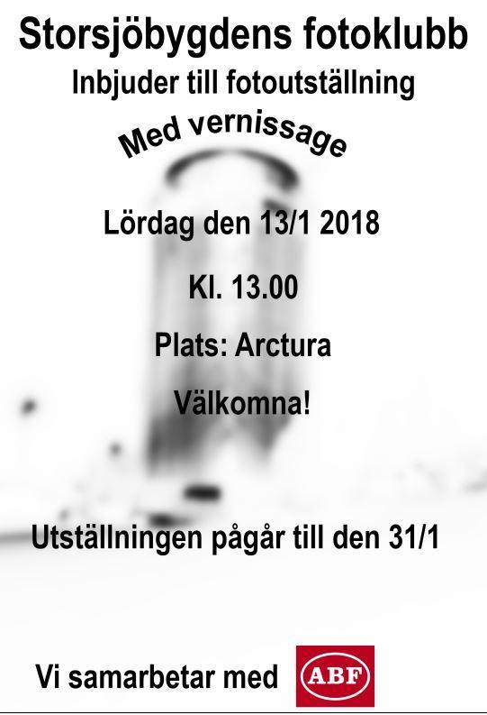 Fotoutställning. Storsjöbygdens fotoklubb anordnar fotoutställning med vernissage på Arctura