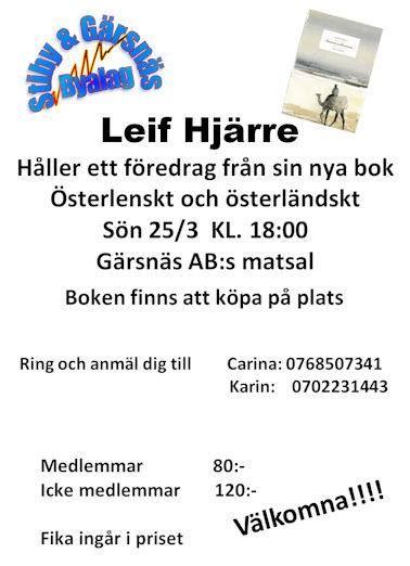 Föredrag av Leif Hjärre om sin nya bok