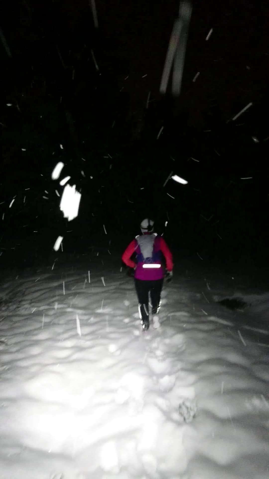 Snow running with headlights