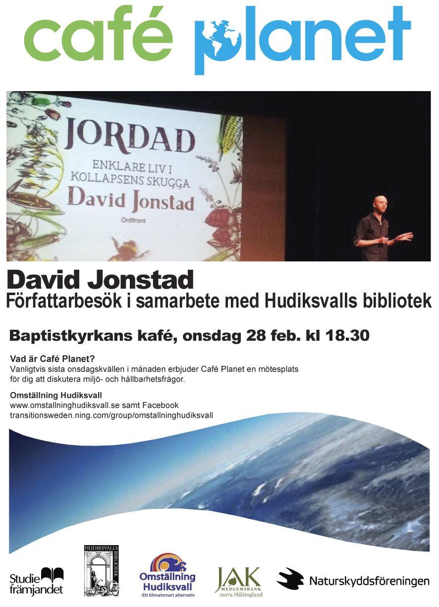 """Café Planet: Författarbesök - David Jonstad inspirerar till """"ett enklare liv i kollapsens skugga""""."""