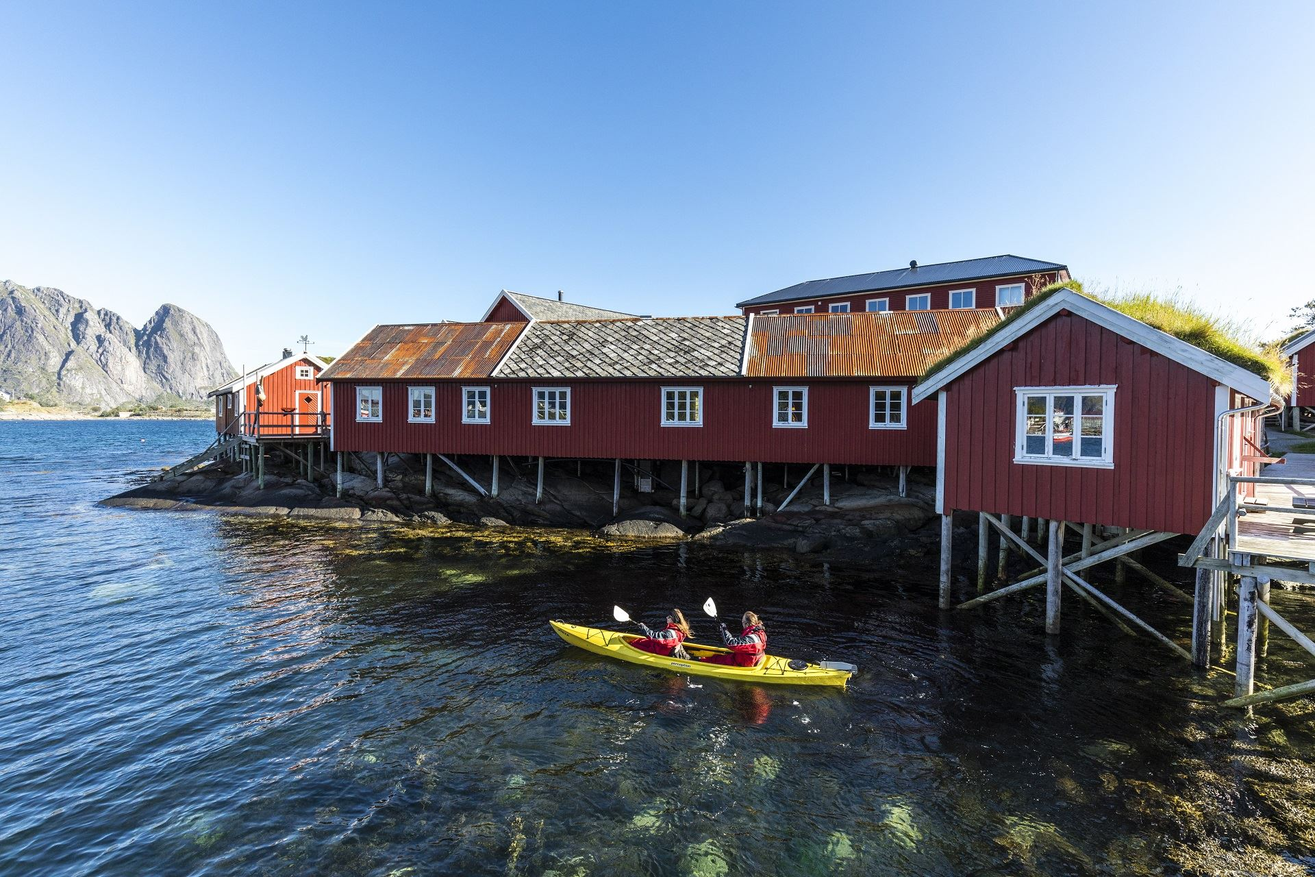 Kayaking in beautiful surroundings around Reine