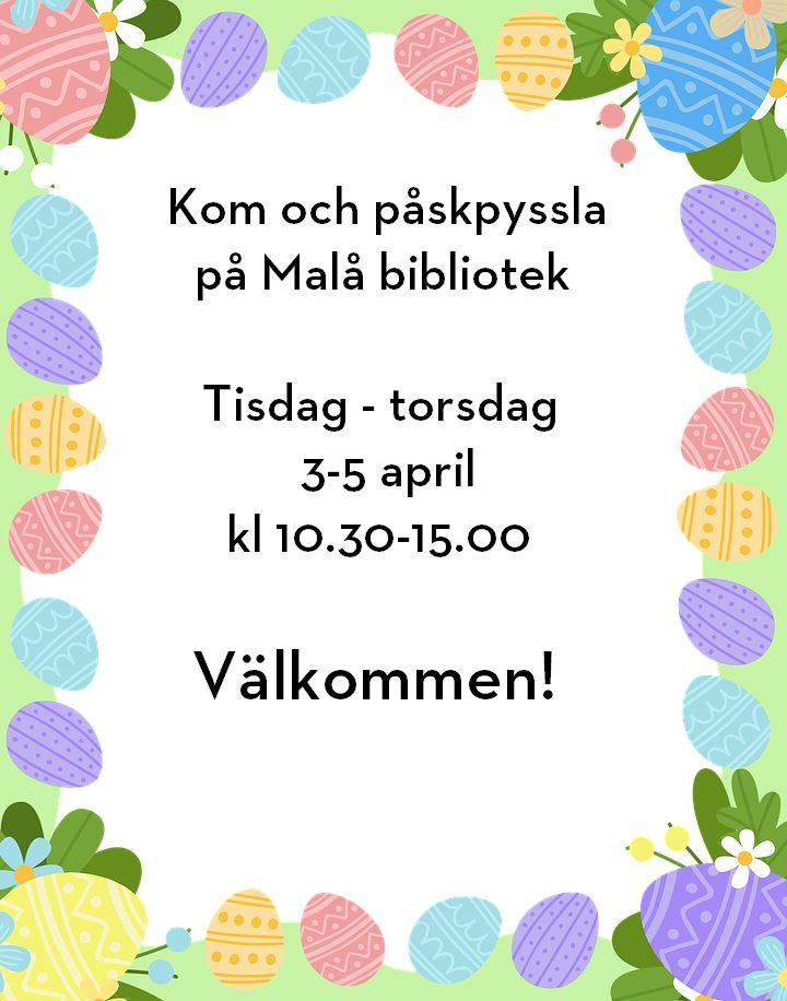 Påskpyssel på Malå bibliotek