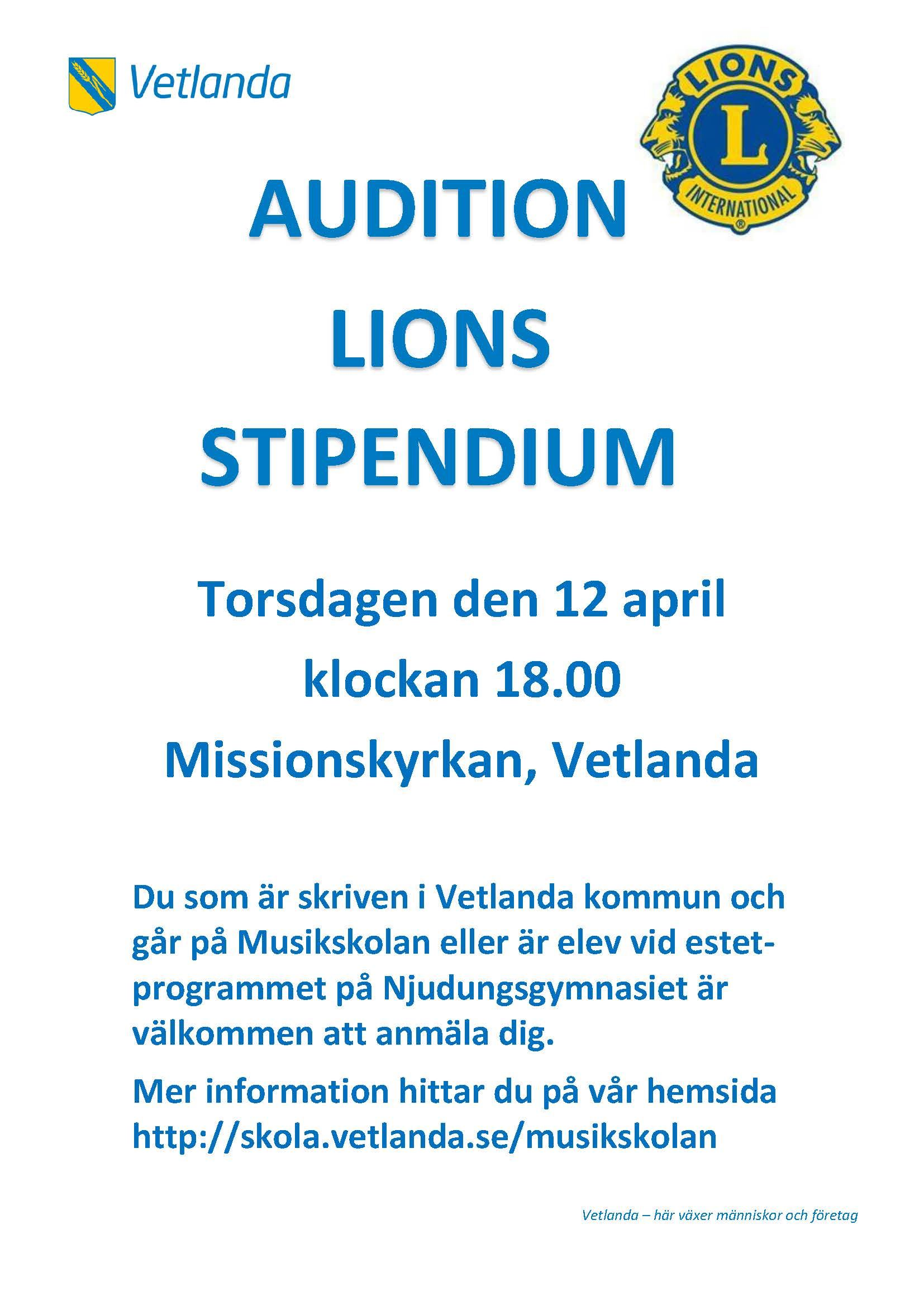 Audition Lions Stipendium
