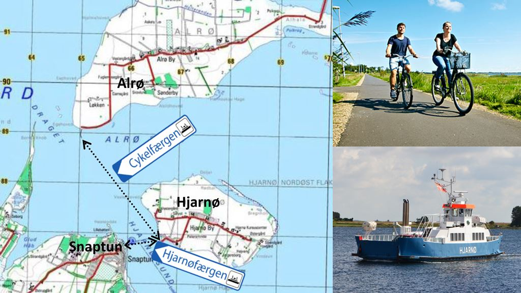 The bicycle-ferry from Snaptun to Alrø Single ticket