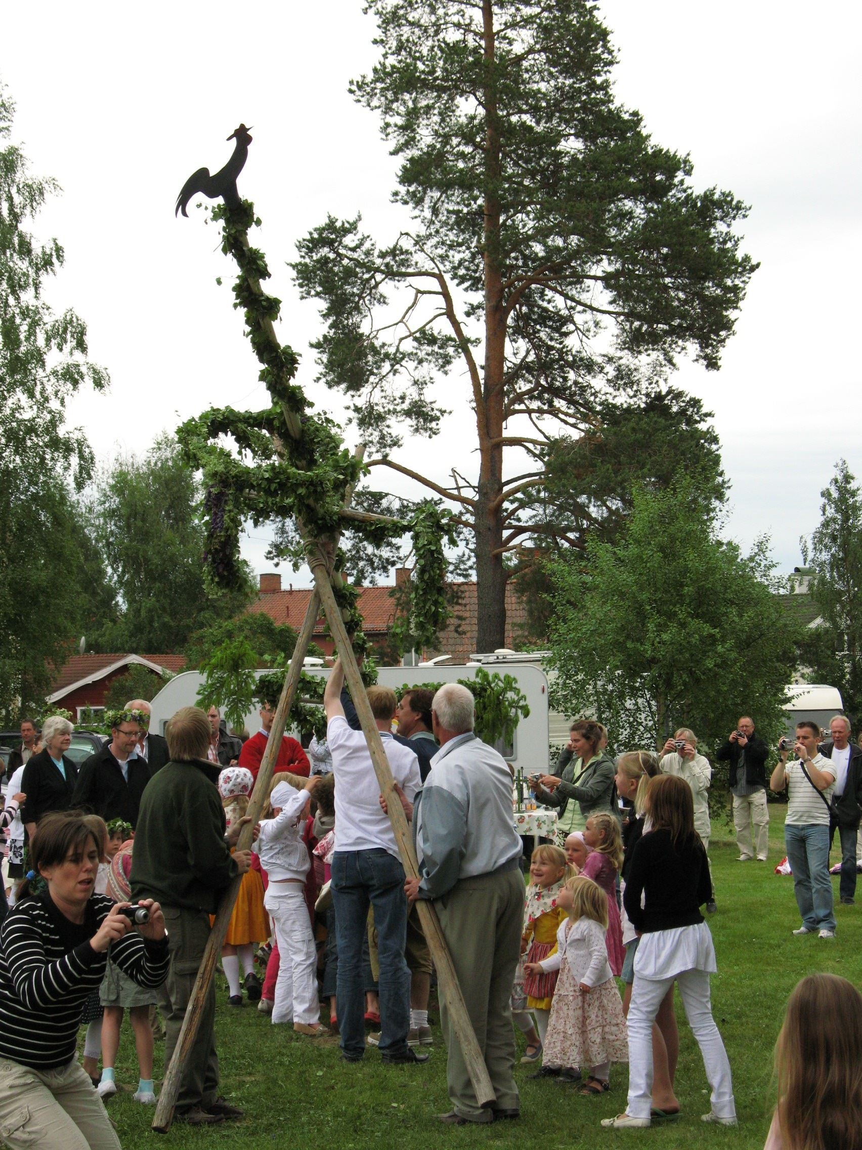 Majstångsresning på Solvi SMU-gård