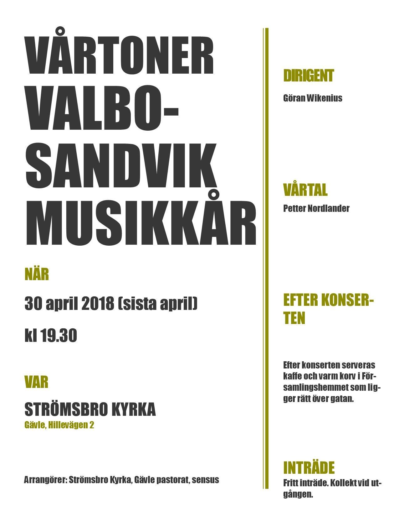 VÅRTONER - Valbo-Sandvik Musikkår