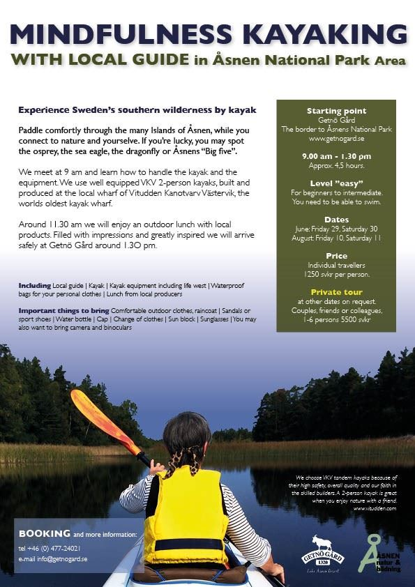 Mindfulness kayaking with local guide in Åsnen National Park Area