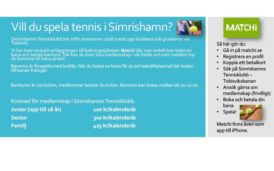 Tennis courts and clubs in the area of Simrishamn.