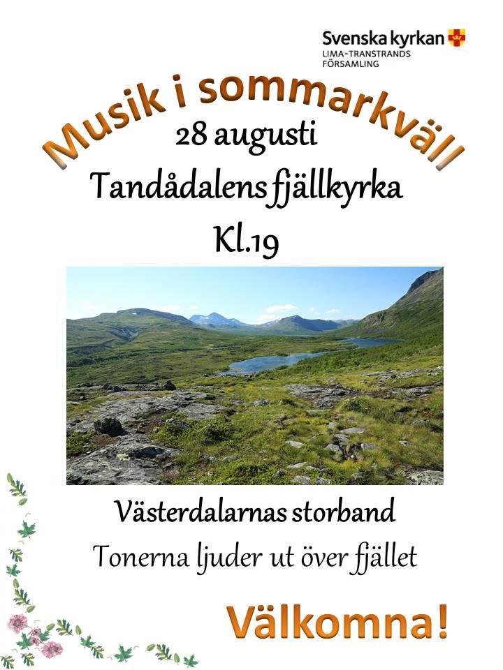 Musikkväll i Tandådalens fjällkyrka kl 19:00