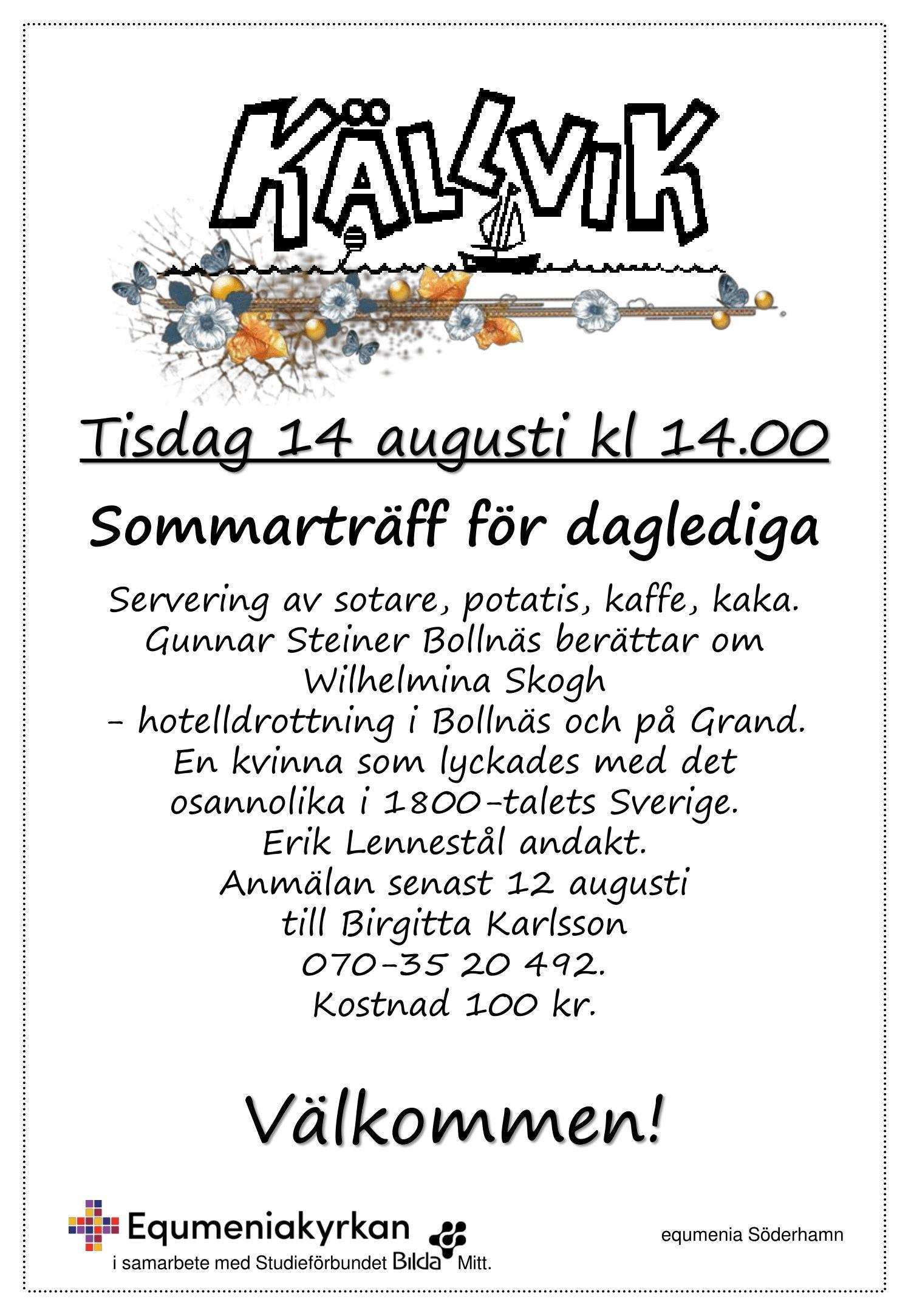 Monica S,  © Equmeniakyrkan Söderhamn, Sommarträff för daglediga