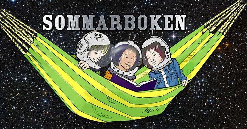 © Östersunds bibliotek, bild på barn i rymden läsandes i en hängmatta