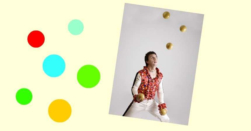 © Östersunds bibliotek, kvinna som jonglerar