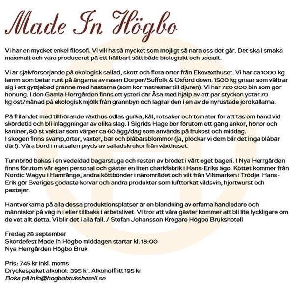 Skördesfest Made in Högbo