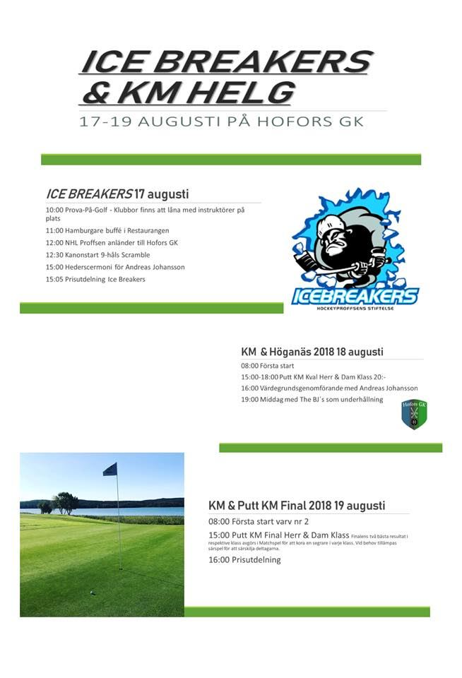 ICEBREAKERS OCH KM HELG på Hofors Golfklubb 17/8