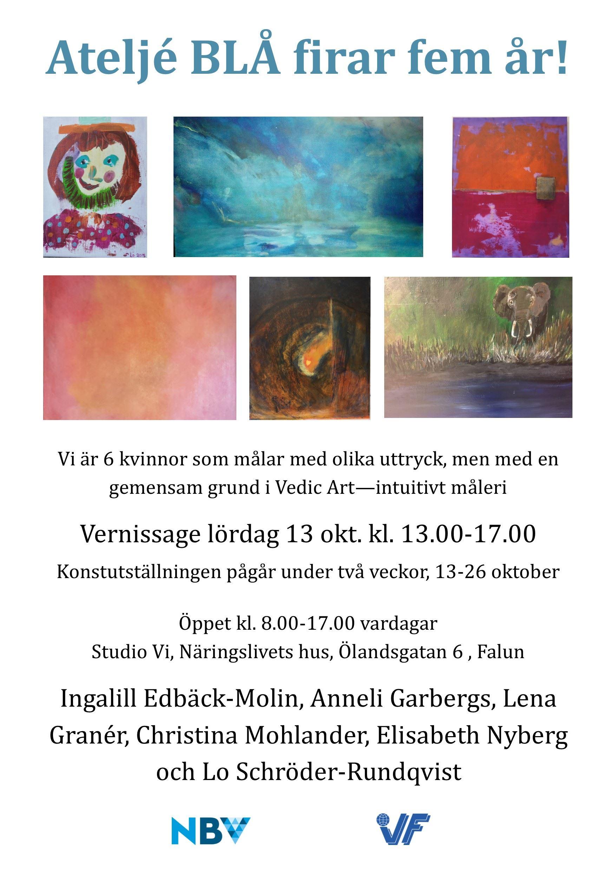 Ateljé Blå firar fem år! - konstutställning på Studio Vi