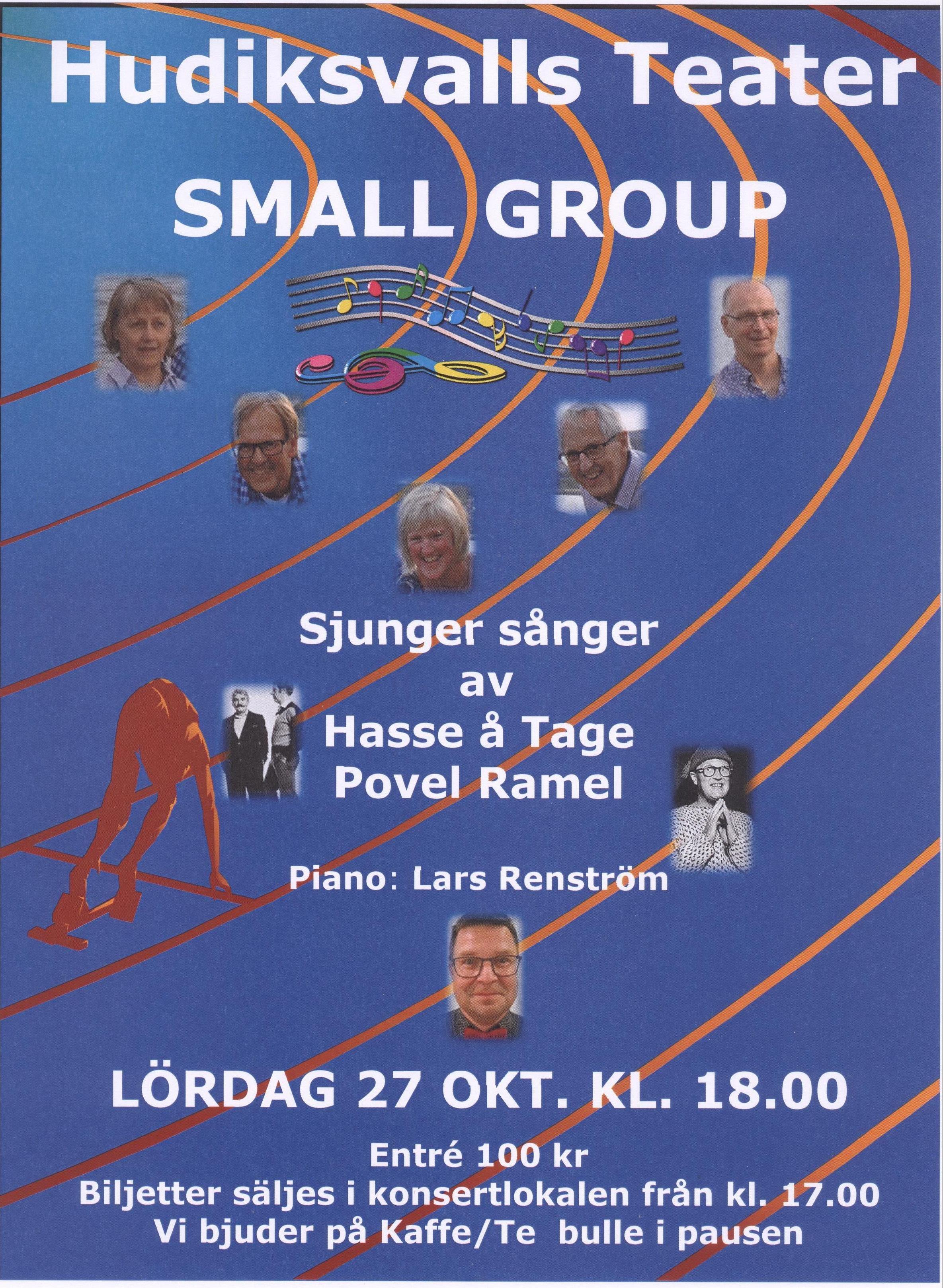 Small Group Sjunger Hasse å Tage och Povel Ramel, Piano Lars Renström
