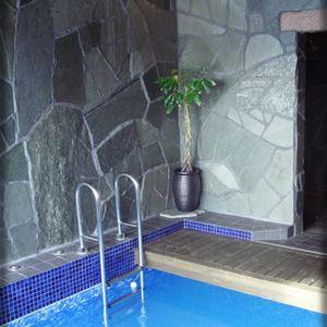 Pool med blå mosaik längs kanten, naturfärgat klinkers på golvet och väggar av grå natursten.