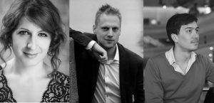 Nathalie Chalkley, Leif Jone Ølberg, og Ian Ryan, klaver i Sognets Hus, Maribo