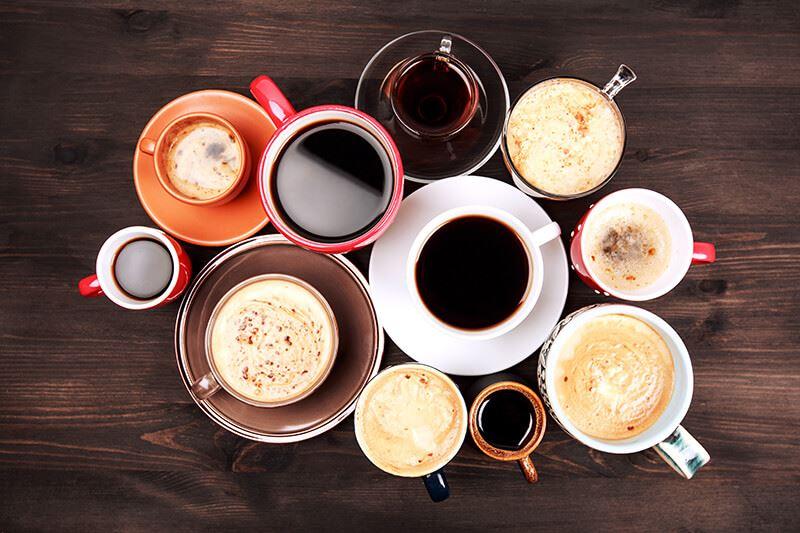 Foto: Telogott,  © Copy: Telogott, Kaffekoppar fyllda med olika sorters kaffe